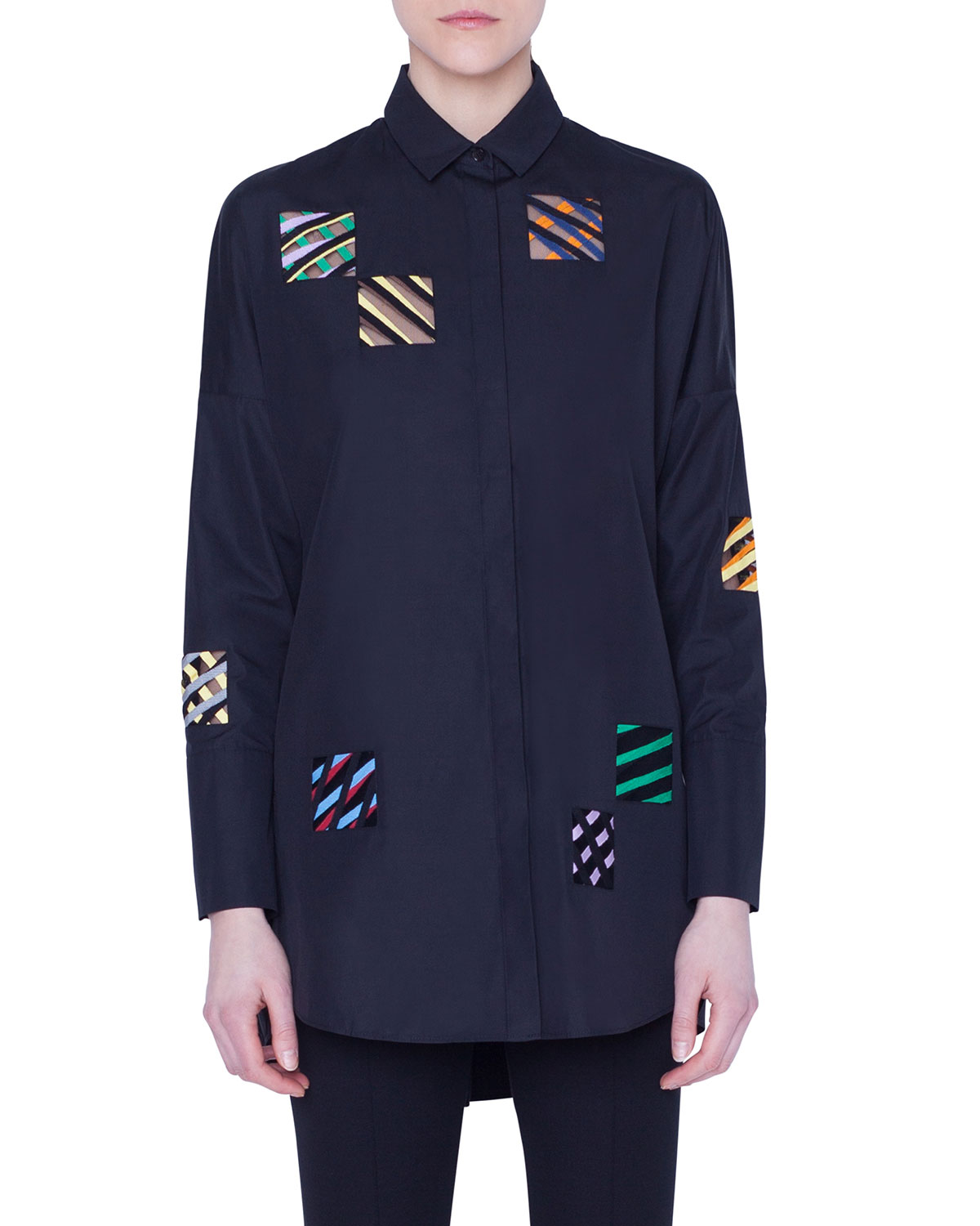 Akris Punto T-shirts EMBROIDERED-ORGANZA SQUARE BUTTON-FRONT SHIRT