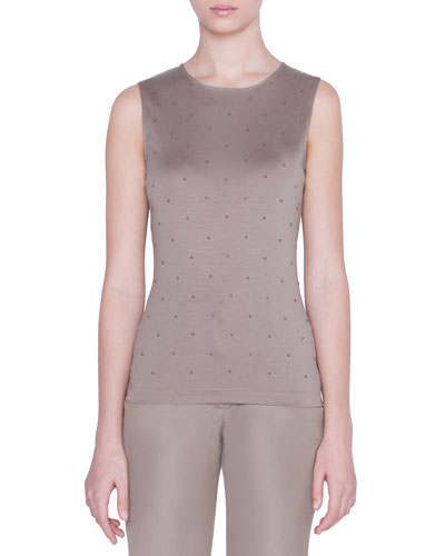 Sleeveless Studded Jersey Top