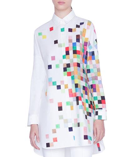 Pixel-Print Button-Front Tunic