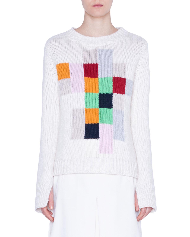 Akris Punto Sweaters CASHMERE PIXEL-INTARSIA SWEATER