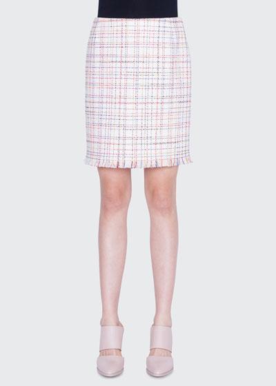 c3a0d3309 WIndowpane Tweed Fringed Mini Skirt Quick Look. Akris punto