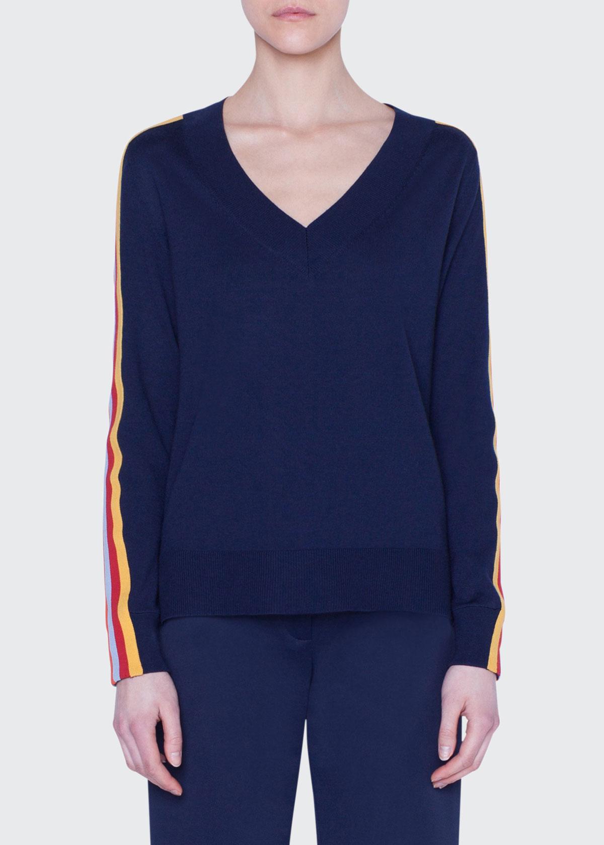 Akris Punto Sweaters RAINBOW-TAPED WOOL SWEATER