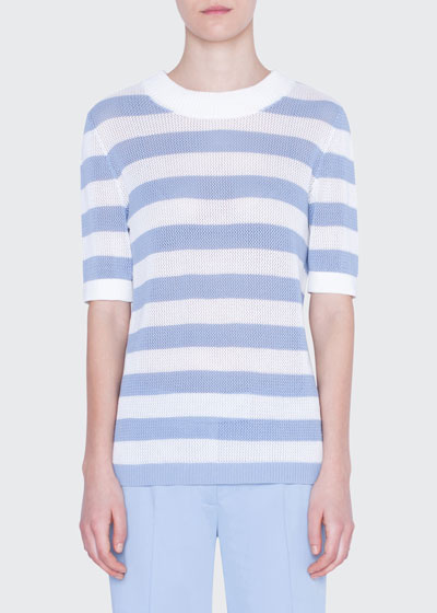 Striped Mesh-Inset Sweater