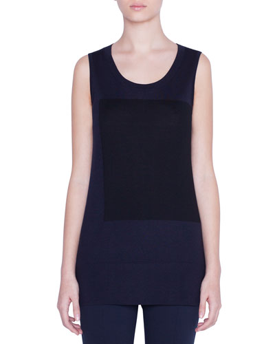Sleeveless Contrast-Square Wool Sweater