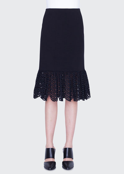 Jersey Lace Flounce Pencil Skirt