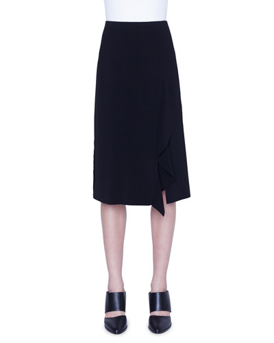 Laser-Cut Asymmetric Crepe Skirt