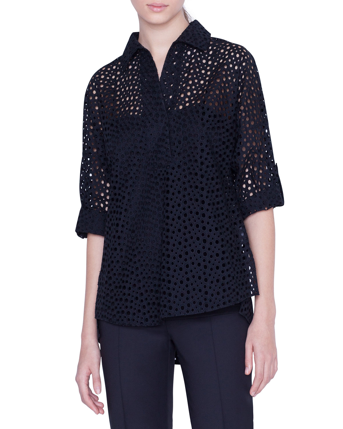 Akris Punto Tops DOTTED LACE 3/4-SLEEVE POPOVER BLOUSE