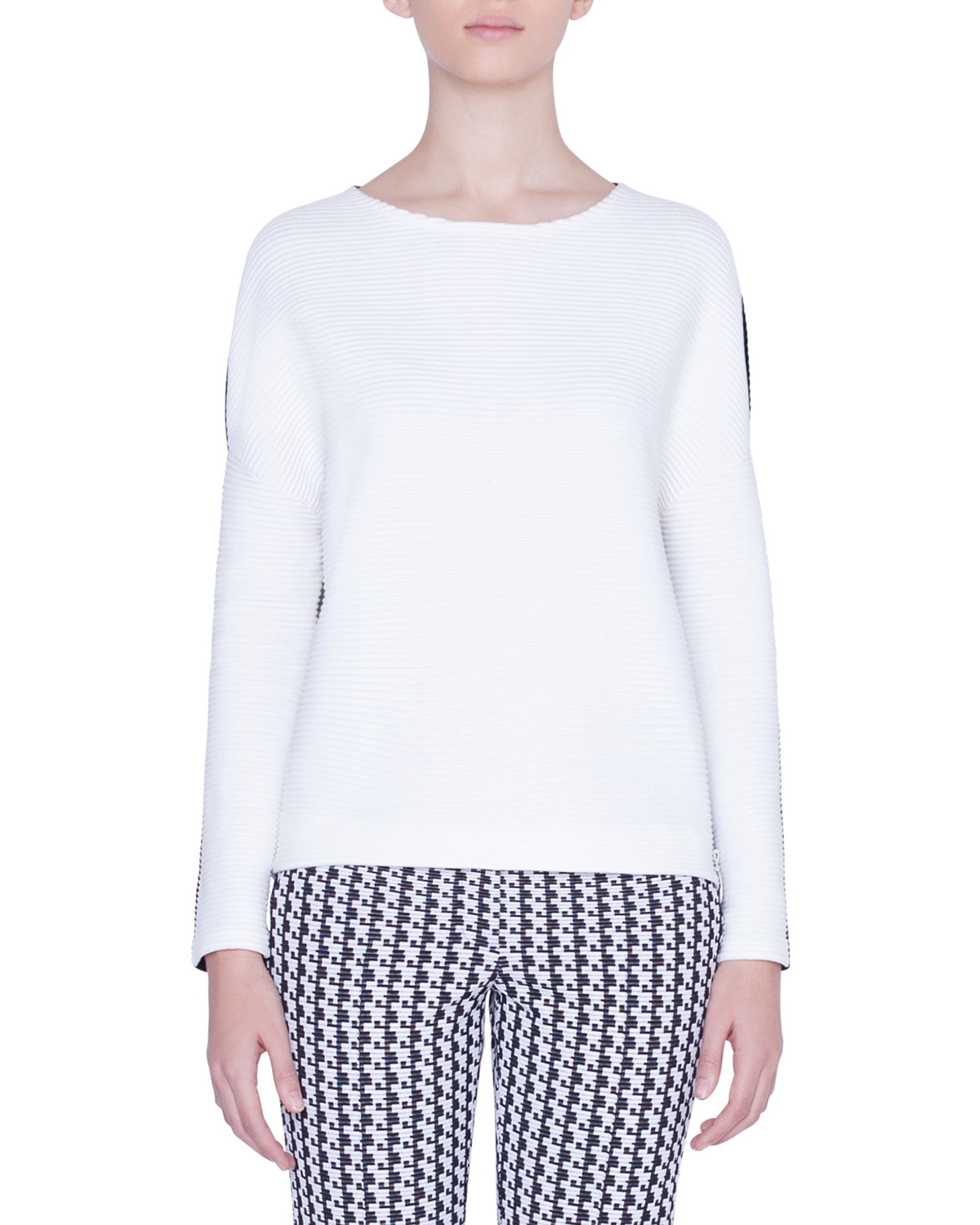 Akris Punto Sweaters BICOLOR BOAT-NECK SIDE-ZIP SWEATER