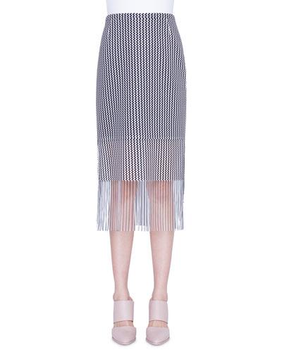 Wave-Print Mesh Fringed-Hem Pencil Skirt