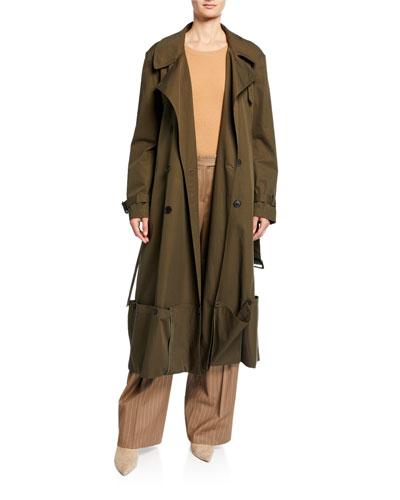 Double-Breasted Folded Hem Coat