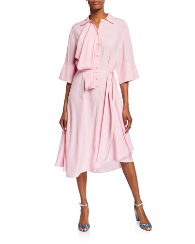 Ruffled Drape-Front Draped Dress