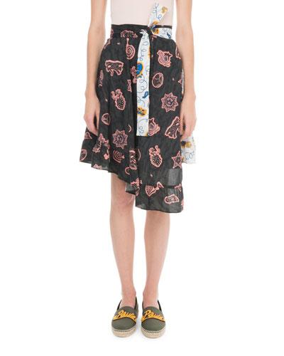 x Paula's Ibiza Asymmetric Printed Chiffon Wrap Skirt