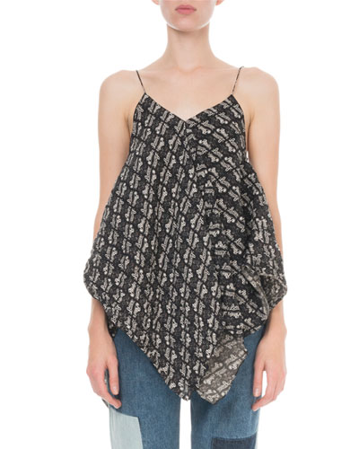 x Paula's Ibiza Strappy Draped Chiffon Top