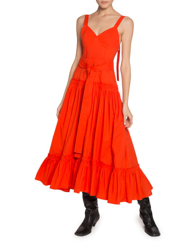 Tiered-Poplin V-Neck Maxi Dress