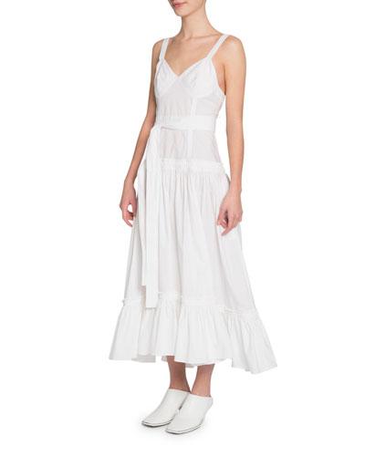 Sleeveless Belted Poplin Flounce Dress