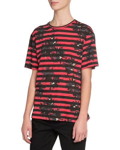 Short-Sleeve Splattered-Floral Print T-Shirt, Red