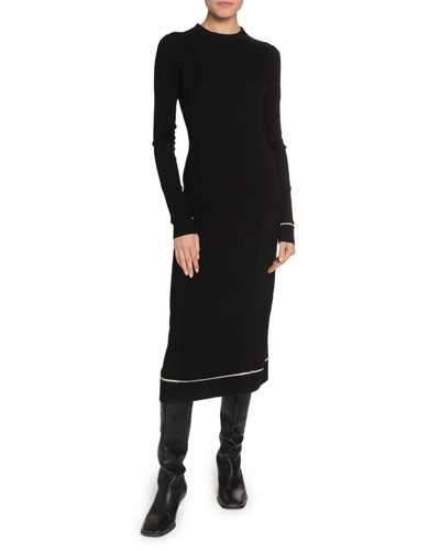 Long-Sleeve Crewneck Knit Dress