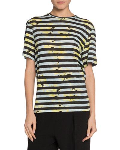 Short-Sleeve Splattered-Floral Print T-Shirt, Blue