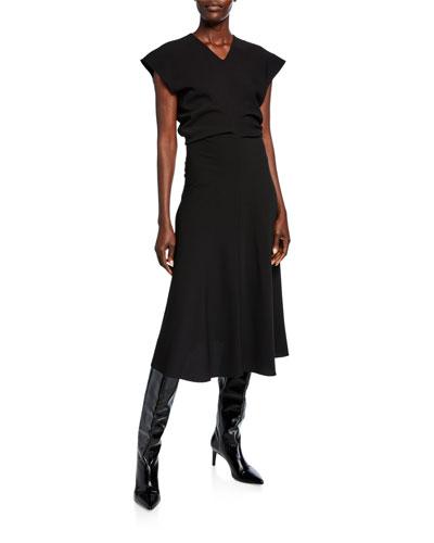 Textured Crepe V-Neck Midi Dress