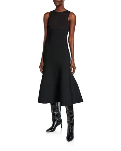 Sleeveless Illusion Jersey Flounce Dress