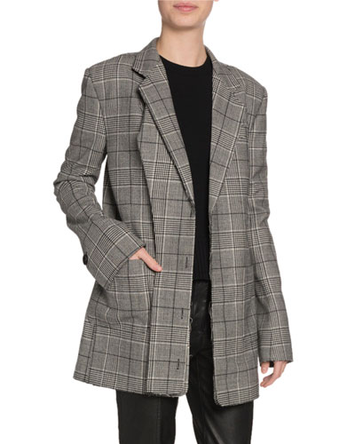 Oversized Glen-Plaid Wool Blazer
