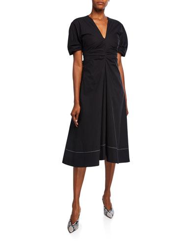 Stretch Cotton V-Neck Dress