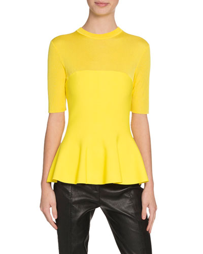 1/2-Sleeve Illusion Peplum Top