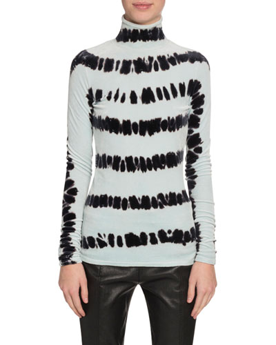 Velvet Turtleneck Tie-Dye Long-Sleeve Top