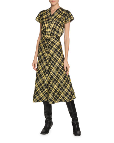 Crinkled Plaid V-Neck Midi Dress