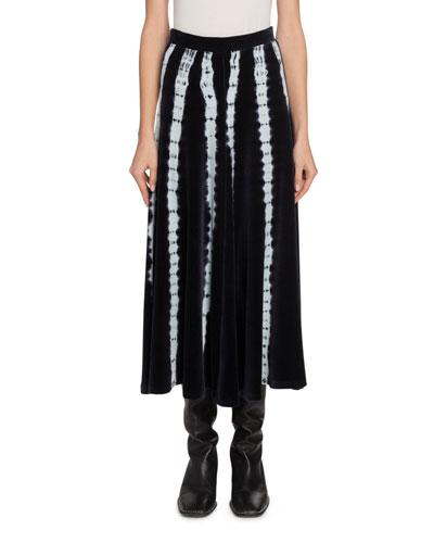 Tie-Dyed Velvet Midi Skirt