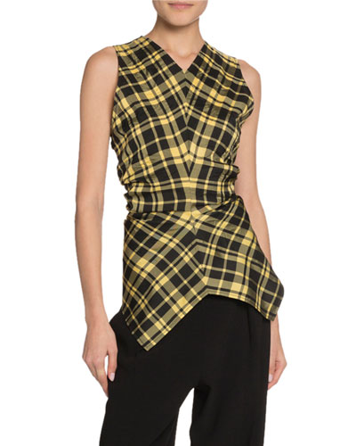 Crinkled Plaid Sleeveless Crewneck Top