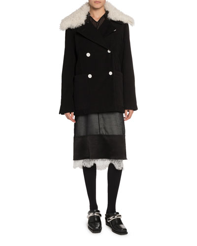 Shearling-Collar Oversize Coat