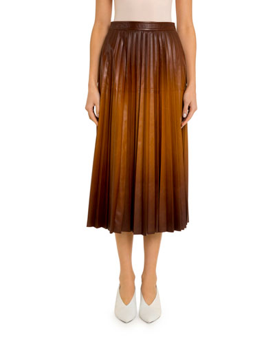 Ombre Pleated Leather Midi Skirt