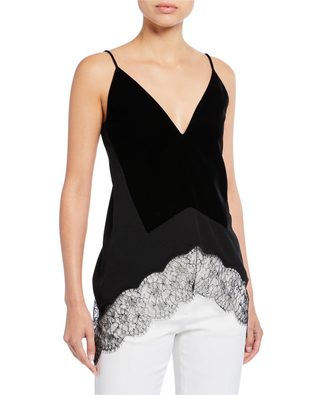 Givenchy Velvet Silk Lace-Hem Top In Black