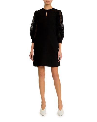 Lace-Sleeve Keyhole Dress