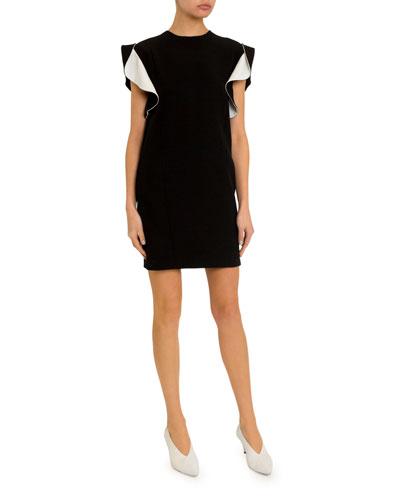 Ruffled Short-Sleeve Crepe Dress