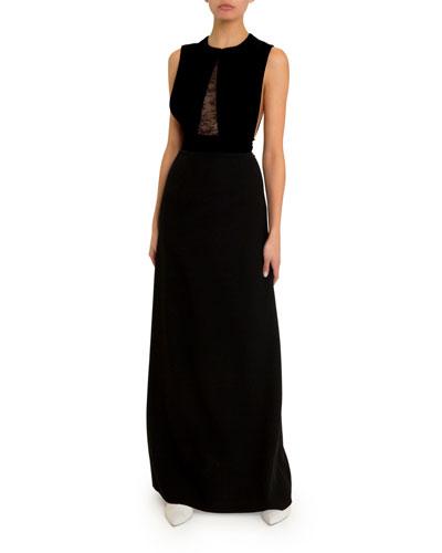 Cady Lace-Trim Gown