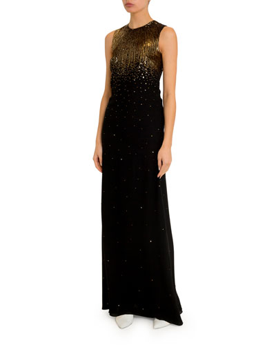 Sleeveless Sequined-Crepe Column Gown