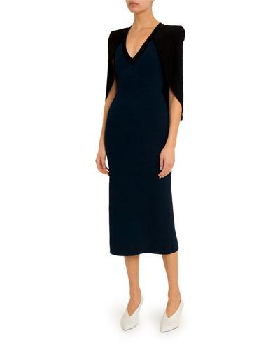 Crepe Capelet Midi Dress