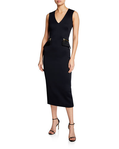 Sleeveless V-Neck Zip-Pocket Midi Dress