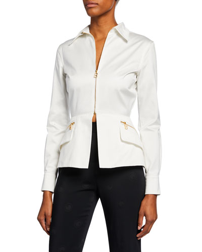 Sateen Zip-Front Peplum Blouse