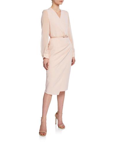 Manuel Chiffon-Sleeve Belted Dress