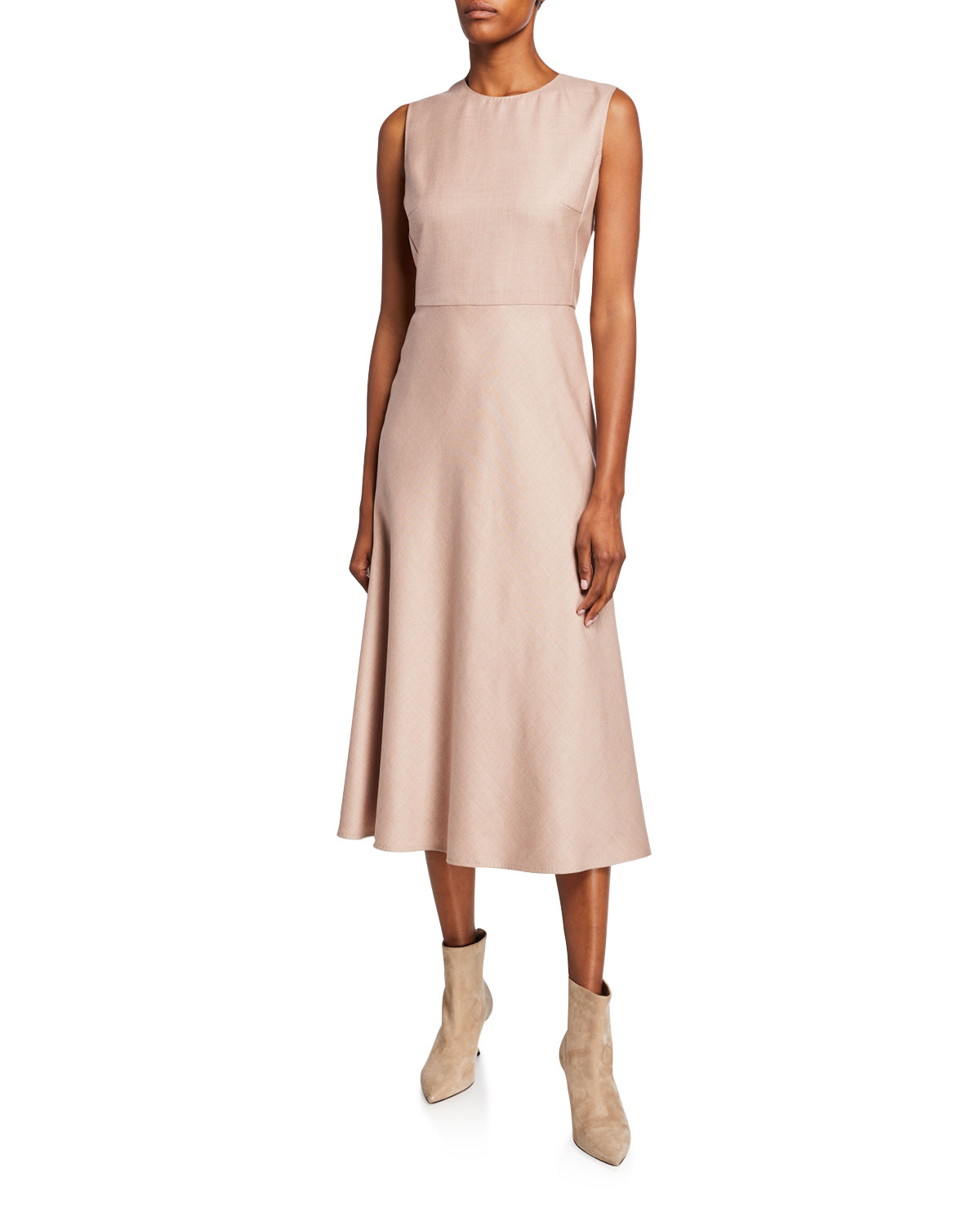 Max Mara Dresses URAL SLEEVELESS WOOL-SILK DRESS