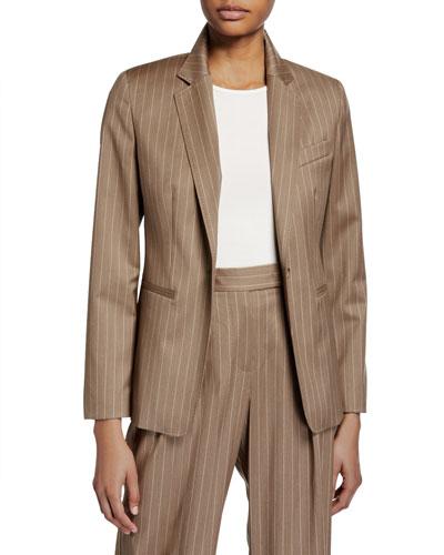 Kuens Pinstriped Virgin Wool One-Button Jacket