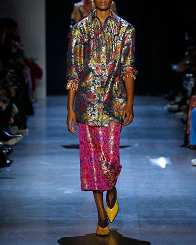 Side-Slit Floral Brocade Midi Pencil Skirt