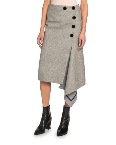 Velvet-Trim Wool Flannel Draped Midi Skirt