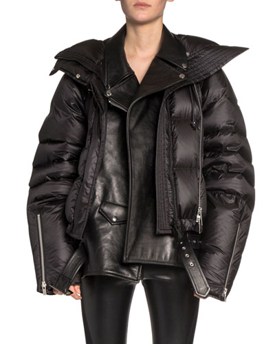 Leather Moto Layered Puffer Coat