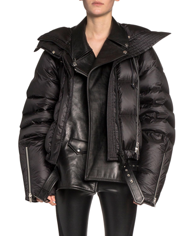 Sacai Coats LEATHER MOTO LAYERED PUFFER COAT