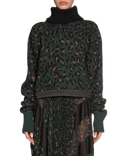 Leopard Jacquard Turtleneck Crop Sweater