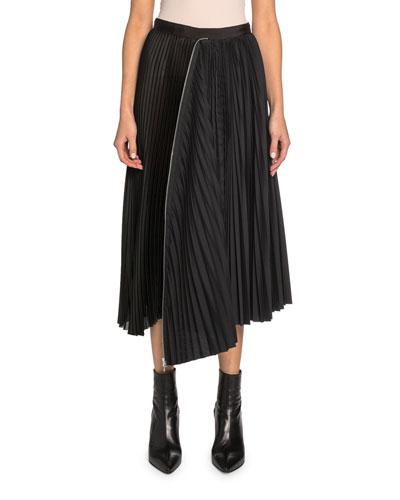 Zip-Trim Pleated Midi Skirt